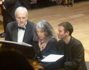 Nicholas Angelich, Martha Argerich, Iddo Bar-Shaï sharing the piano