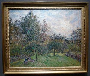 Camille Pissaro - Pommiers et peupliers au soleil couchant